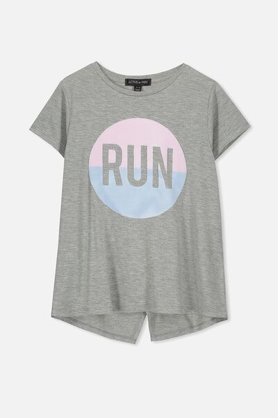 Free Active Wrap Back Tee, MID GREY MARLE/RUN