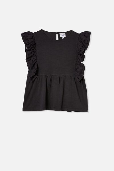 Jade Short Sleeve Frill Top, PHANTOM