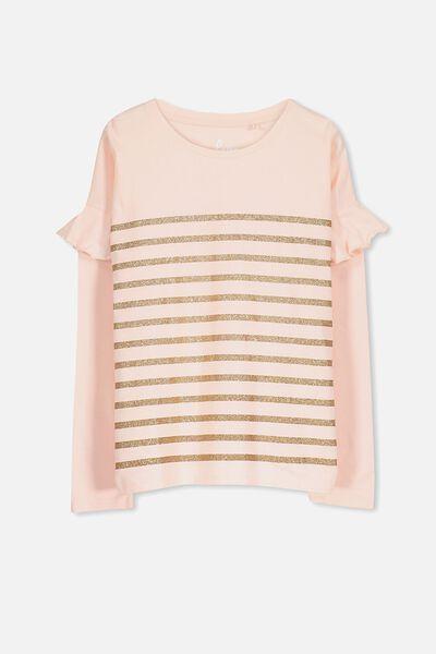 Suzie Long Sleeve Top, SEA PINK/GOLD