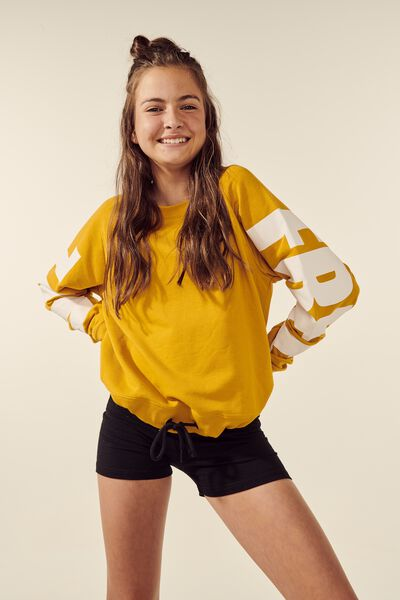 Boxy Crew Neck Jumper, GOLD GLOW/WHITE FREE