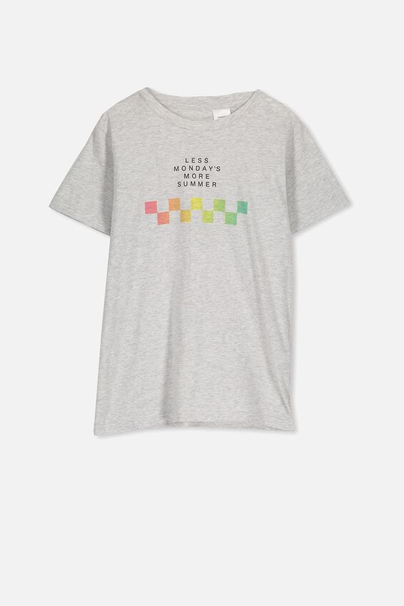 Lachie Ss Sleep Tee, GREY MARLE/LESS MONDAYS