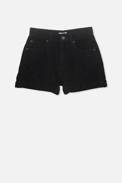 Cord High Waist Short, BLACK