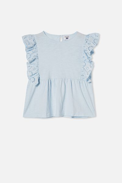 Jade Short Sleeve Frill Top, FROSTY BLUE
