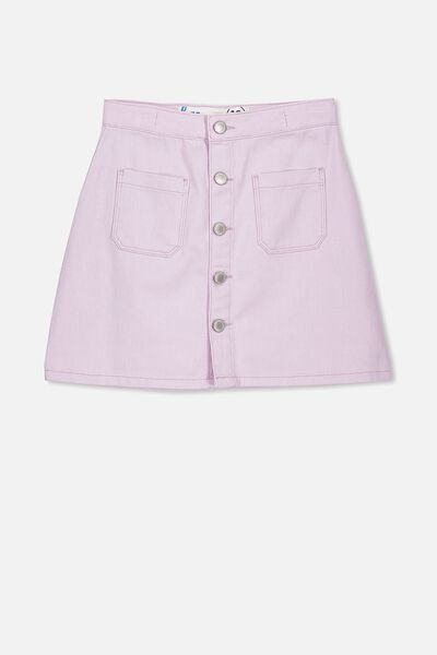 Button Denim Skirt, MISTY VIOLET
