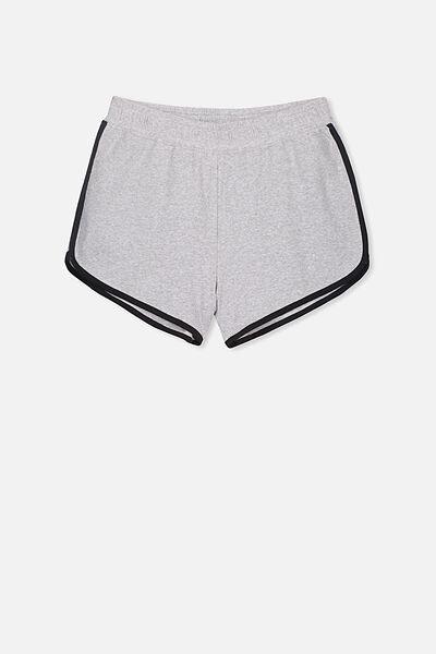 Girls Knit Jogger Short, GREY MARLE/BLACK BIND