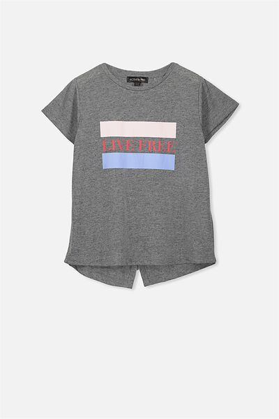 Free Active Wrap Back Tee, GREY MARLE/LIVE FREE