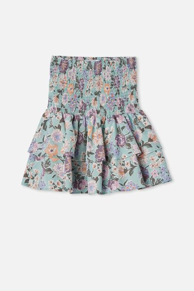 Ester Skirt, DUCK EGG/PAINTERLY FLORAL
