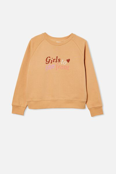 Boxy Crew Neck Jumper, PEACHY/ GIRLS TO THE FRONT