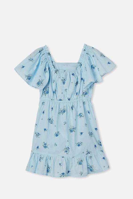 Salma Short Sleeve Dress, FROSTY BLUE/PRETTY DITSY