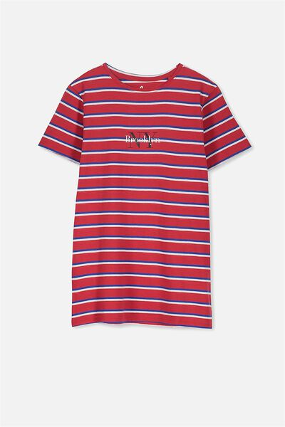 Ollie Ss Tee, RED STRIPE/BROOKLYN