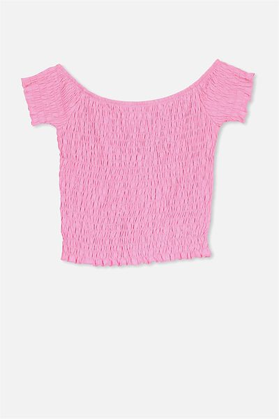 Shirred Tee, CANDY PINK