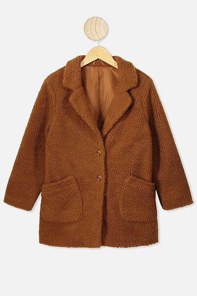 Ally Teddy Longline Jacket, AMBER BROWN