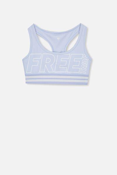 Racer Back Crop Top, TOPAZ BLUE/FREE