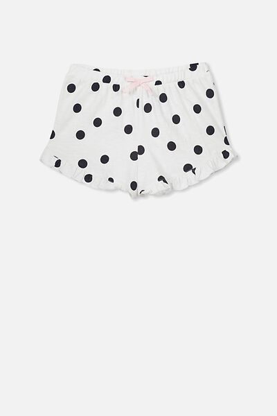 Jelena Frill Sleep Short, WHITE/FREE NAVY SPOT