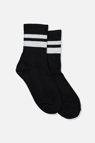 Ribbed Crew Socks, S BANDS BLACK AND WHITE