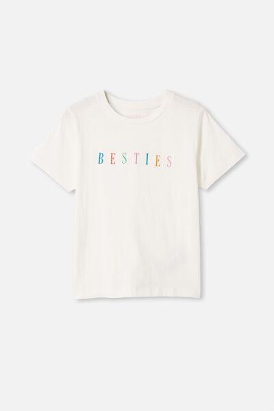 Girls Classic Ss Tee, VANILLA/BESTIES