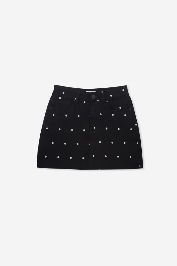 Stretch Denim Skirt, BLACK/WHITE SPOT