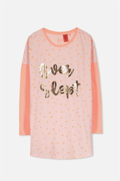 Stella Ls Nightie, PINK MARSHMALLOW/OVER SLEPT