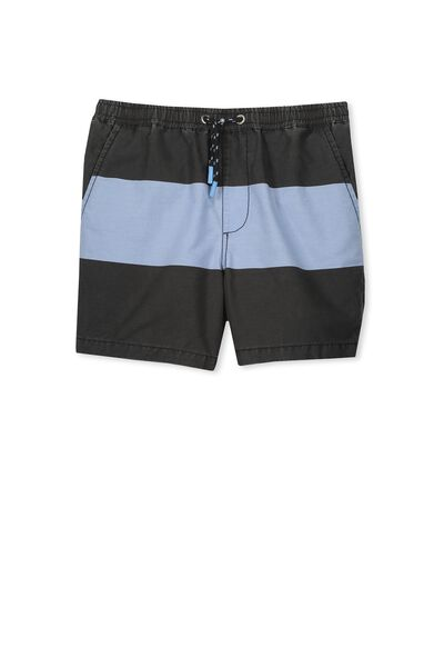 Pool Short, BLACK/SOFT CORNFLOWER