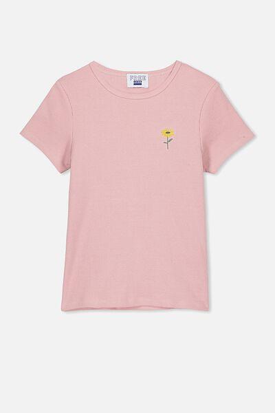 Jayde Ribbed Short Sleeve Top, DUSTY ROSE/DAISY