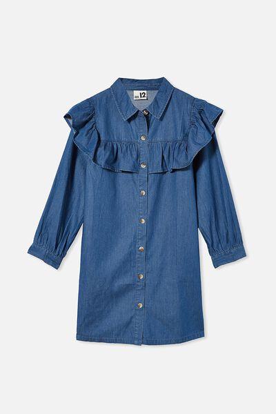 Lara Frill Dress, RETRO BLUE WASH