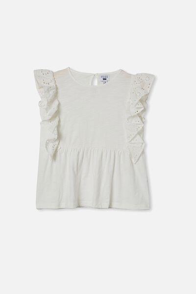 Jade Short Sleeve Frill Top, VANILLA