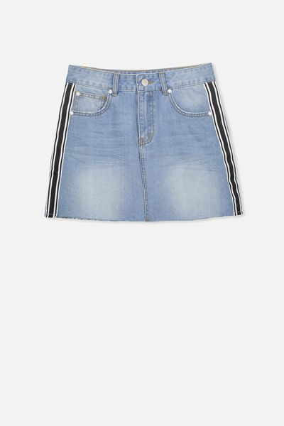 Aline Denim Skirt, BLEACH INDIGO TAPE
