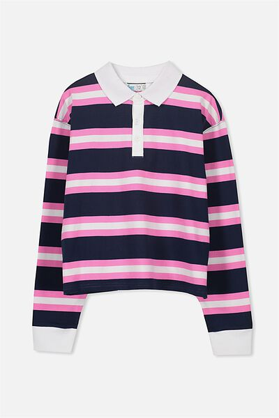 Rugby Stripe Long Sleeve Top, OBRIEN BLUE/CANDY STRIPE