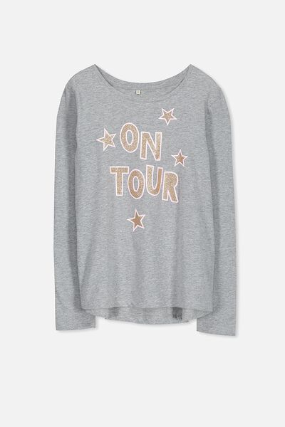 Ebony Long Sleeve Tee, MID GREY MARLE/ON TOUR