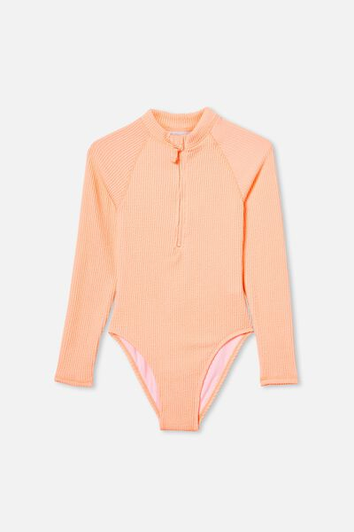 Lindsay Rib Long Sleeve One Piece, TROPICAL ORANGE