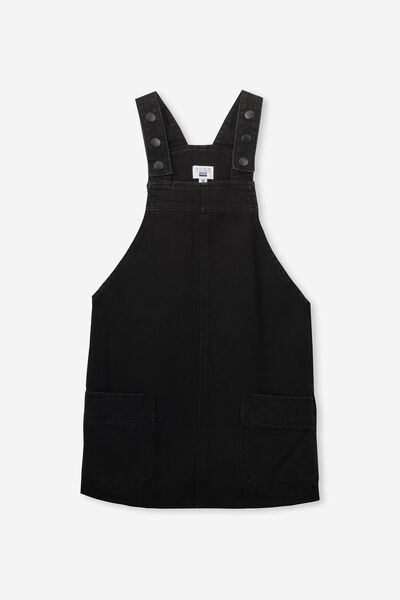 Denim Pinafore, WASHED BLACK