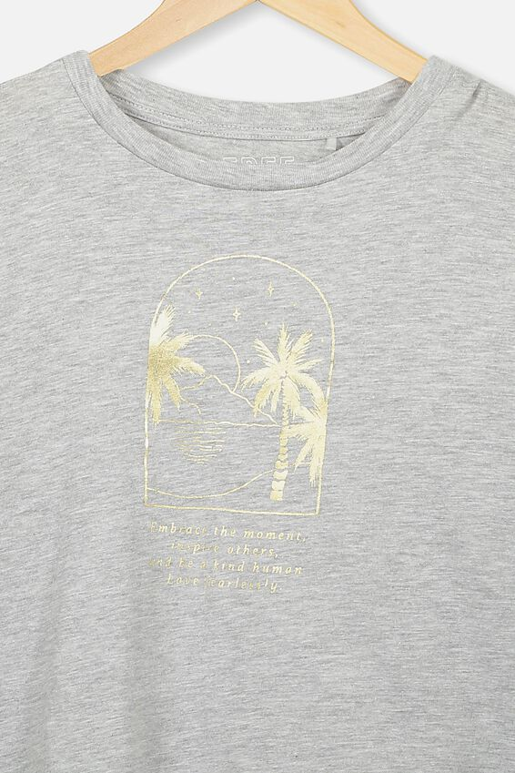 Girls Long Sleeve Tee, LIGHT GREY MARLE/PALM TREES