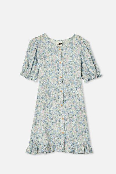 Malu Short Sleeve Dress, VANILLA VINTAGE FLORAL