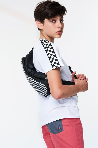 Free Sling Bag, WASHED BLACK/CHECKER BOARD