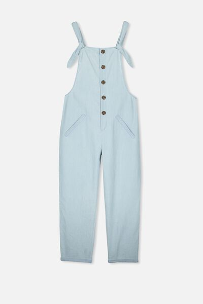Button Front Jumpsuit, CHAMBRAY
