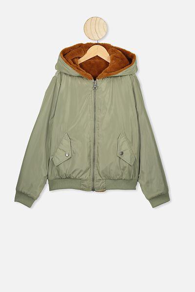 Anna Reversible Bomber Jacket, KHAKI/AMBER BROWN