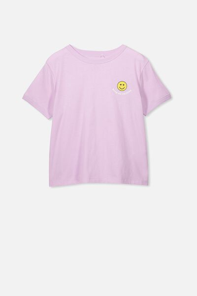 Girls Ringer Tee, ORCHID/KEEP ON SMILING