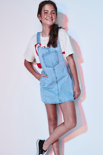 Denim Overall Dress, FADED BLUE