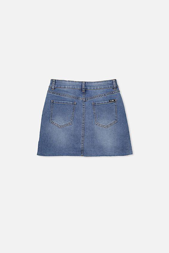 Stretch Denim Skirt, MID INDIGO