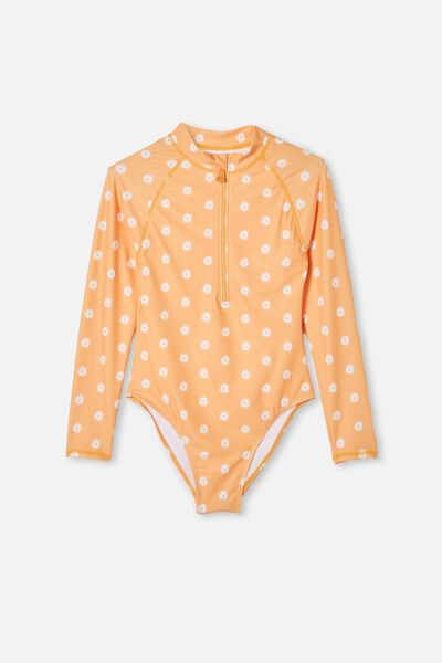 Lindsay Long Sleeve One Piece, PAPAYA/DAISIES