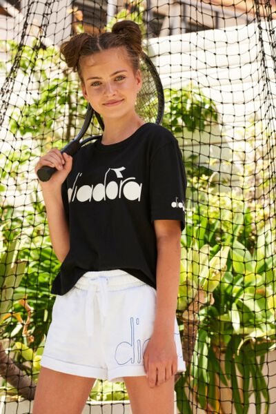 Diadora Girls Boxy Short Sleeve Tee, BLACK/DIADORA