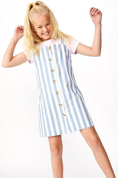 Button Front Dress, BLUE/WHITE STRIPE