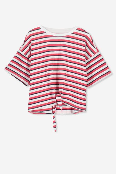 Ellie Tee Tie Front, OBRIEN BLUE/BONFIRE RED STRIPE