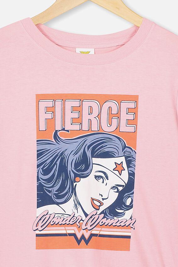 Girls License Classic Ss Tee, LCN WB MARSHMALLOW/WONDER WOMAN FIERCE