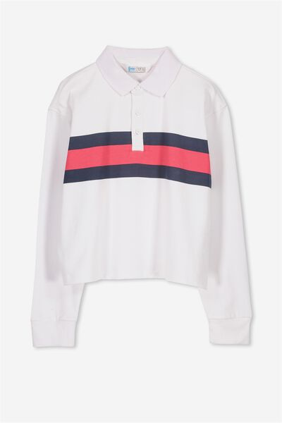 Rugby Stripe Long Sleeve Top, WHITE/POLO STRIPE