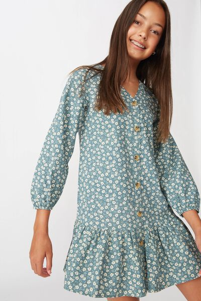 Leila Long Sleeve Dress, DEEP POOL BLUE/PAPERCUT FLORAL