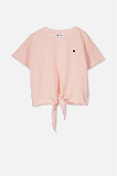 Candy Short Sleeve Fleece Top, PINK MARSHMALLOW/HEART