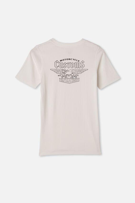 Free Boys Skater Short Sleeve Tee, RETRO WHITE / MOTORCYCLE CUSTOMS