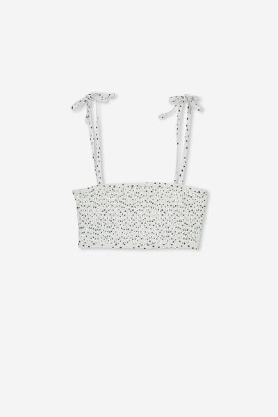 Shirred Bikini Top, WHITE/FREE NAVY SPOT