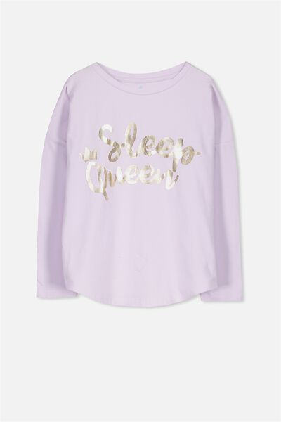 Mila Ls Slouch Sleep Top, SOFT MAUVE/SLEEP QUEEN